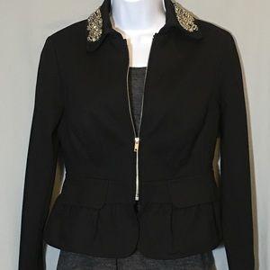 INC Black Blazer Jacket Beaded Collar X Small